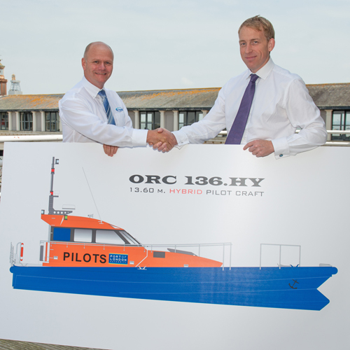 Alan Goodchild, Managing Director of Goodchild Marine Services Limited, with Robin Mortimer, PLA Chief Executive, at the formal signing of the ORC 136.HY contract.