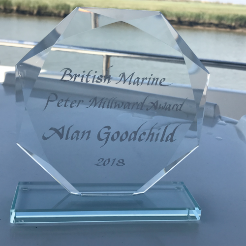 Alan Goodchild has been presented with the Peter Millward Award for his services to the marine industry.